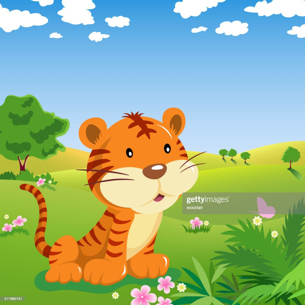 cartoon tiger and butterfly in the wild vector art getty images