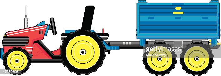 Tractor Pull Clip Art Vector : Cartoon tractor pulling trailer vector art getty images