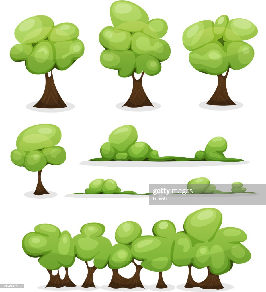 cartoon trees hedges and bush leaves set vector art getty images