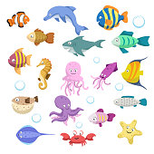 Cartoon trendy colorful reef animals big set. Fishes, mammal, crustaceans.Dolphin and shark, octopus, crab, starfish, jellyfish. Tropic reef coral wildlife. EPS10 + JPEG preview.