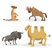 Cartoon trendy style african animals set. Hyena, wildebeest, meerkat and bactrian camel . Closed eyes and cheerful mascots. Vector wildlife illustrations. EPS10 + JPEG preview.