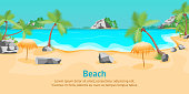 Cartoon Tropical Beach Summer Landscape Card Poster with Coast and Palms Flat Design Nature Scene for Travel. Vector illustration of Seaside View