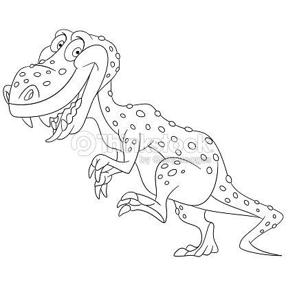 Cartoon Tyrannosaurus Coloring Page Vector Art Thinkstock