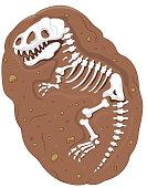 Vector illustration of Cartoon Tyrannosaurus rex fossil