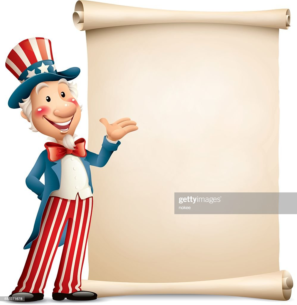 Cartoon Uncle Sam Paper Scroll Vector Art | Getty Images