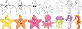 Cartoon animals set. Underwater starfish, octopus, jellyfish and seahorse. Coloring book pages for kids.