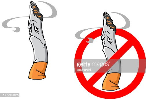 Cartoon Unhappy Cigarette With Stop Sign Vector Art