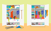 Cartoon Untidy and After Tidy Wardrobe Card Poster Concept Flat Design Style. Vector illustration of Closet Clothing in Interior Room