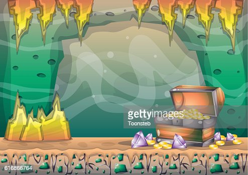 cartoon vector cave with separated layers for game and animation : Vector Art