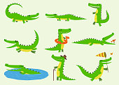 Cartoon vector crocodiles characters different green zoo animals. Cute crocodile funny animal with bath toy and big teeth. Happy predator reptyle character mascot comic color illustration.