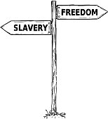 Vector cartoon doodle hand drawn crossroad wooden direction sign with two arrows pointing  left and right as freedom or slavery decision guide