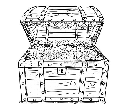 cartoon vector drawing of old open pirate treasure chest with gold