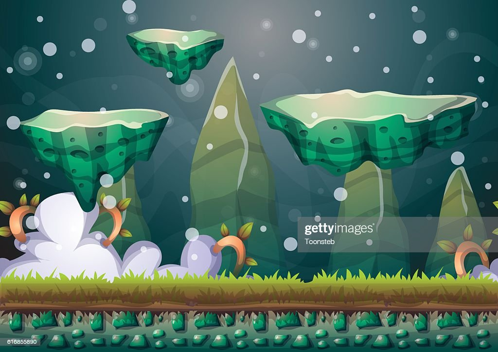 cartoon vector floating island background with separated layers : Vector Art