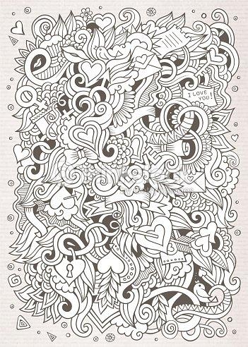 Cartoon Vector Handdrawn Love Doodles Sketchy Design ...