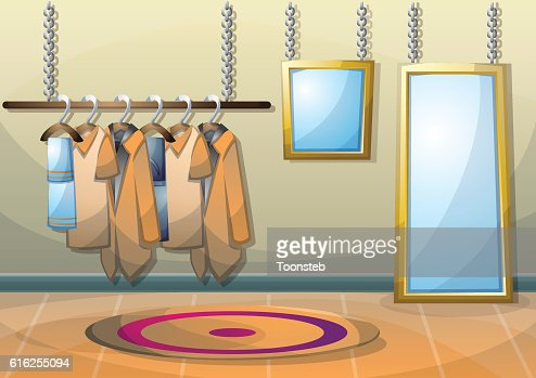 cartoon vector illustration interior clothing room with separated layers : Arte vetorial