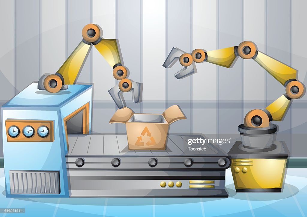 cartoon vector illustration interior factory room with separated layers : Arte vectorial