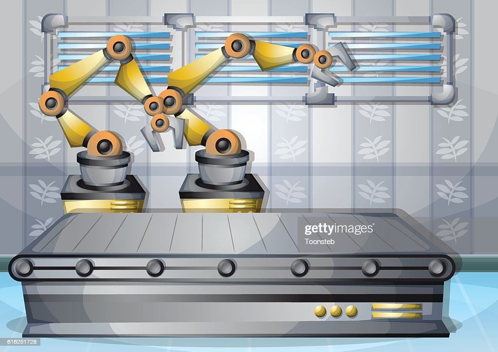 cartoon vector illustration interior factory room with separated layers : Arte vetorial