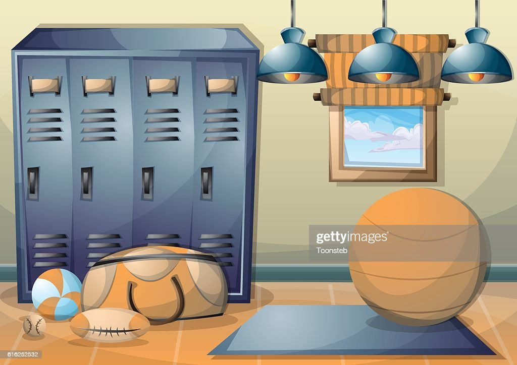 cartoon vector illustration interior fitness room with separated layers : Vector Art