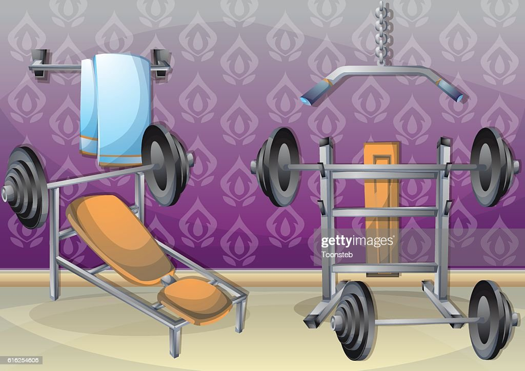 cartoon vector illustration interior fitness room with separated layers : Arte vetorial