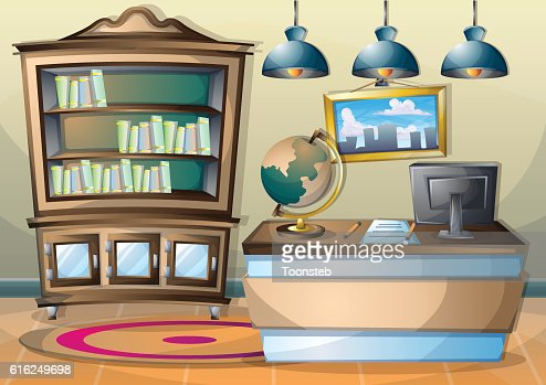 cartoon vector illustration interior library room with separated layers : Vector Art
