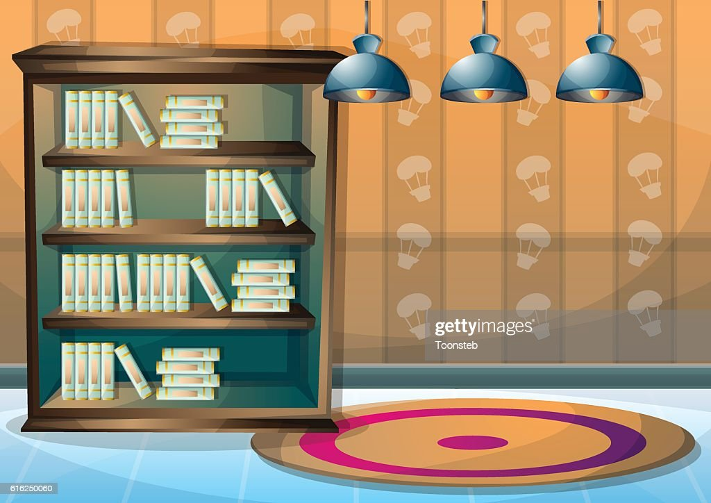 cartoon vector illustration interior library room with separated layers : Arte vetorial