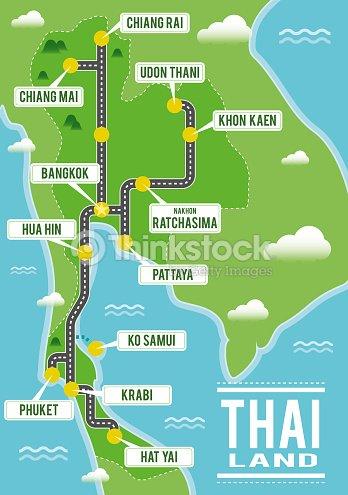 Cartoon Vector Map Of Thailand Travel Illustration With Thai Main ...