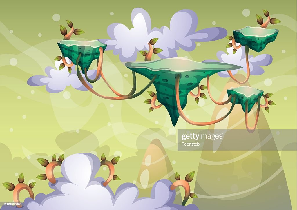 cartoon vector sky background with separated layers : Vector Art