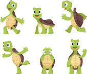 Cartoon vector turtle in various action poses. Illustration of animal tortoise, reptile mascot caricature of collection