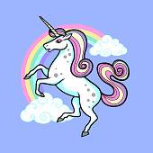 cartoon vector unicorn illustration pop art style