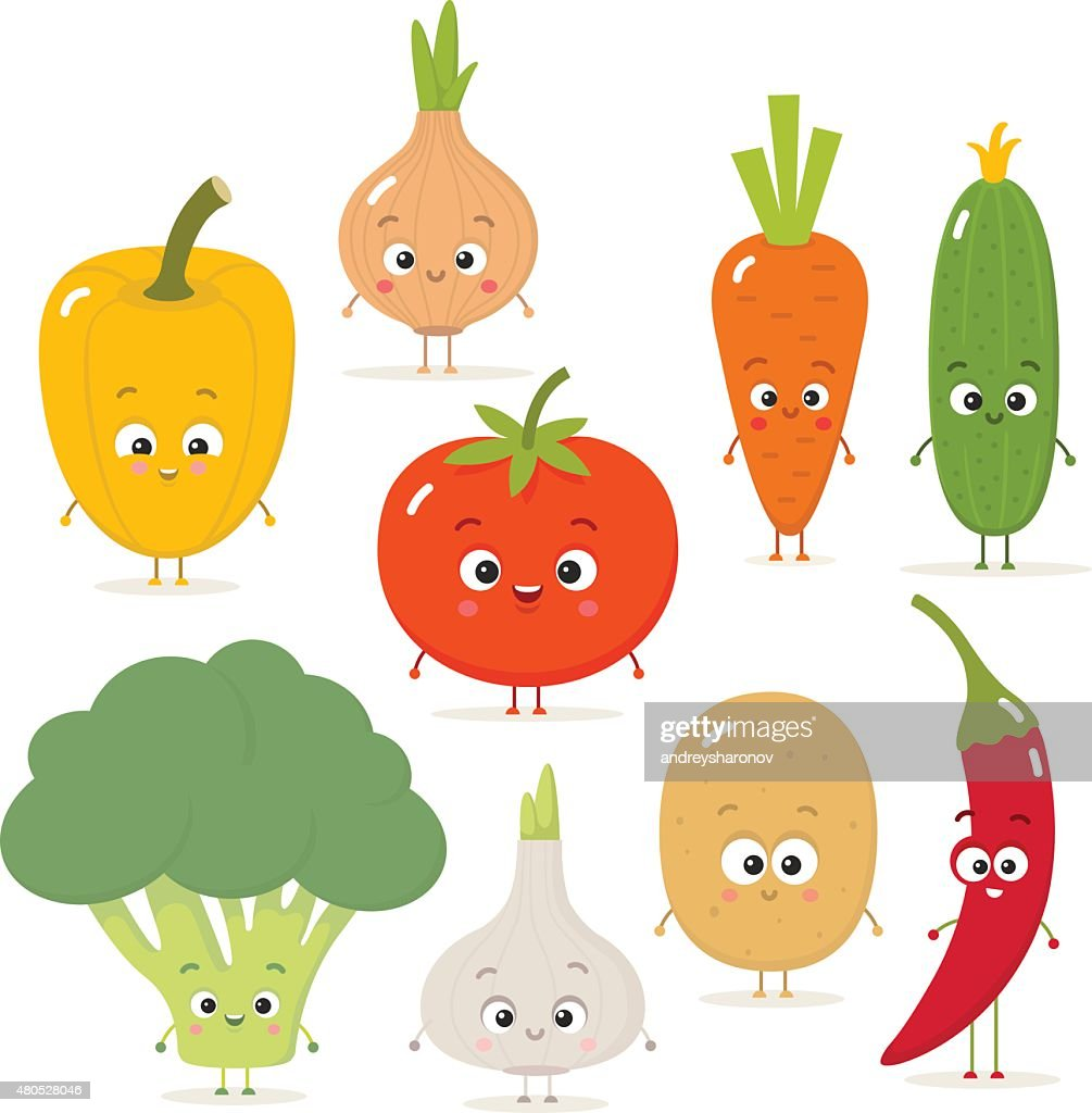Cartoon vegetables vector set in flat style : Vector Art