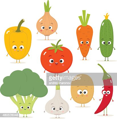 Cartoon vegetables vector set in flat style : Vector Art