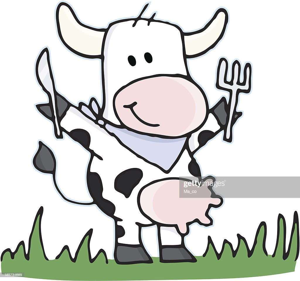 cartoon vegetarian cow with cutlery on a meadow vector art getty
