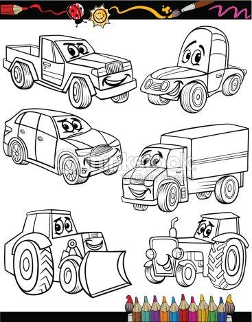 Vehículos Conjunto De Dibujos Animados De Libro Para Colorear Arte ...