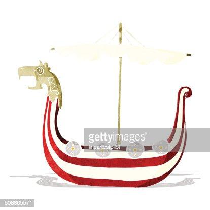 cartoon viking ship : Vector Art