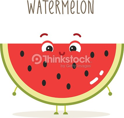 Cartoon Watermelon With Eyes On White stock vector ...