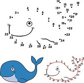 Cartoon whale. Connect the dots picture puzzle.Dot to dot educational game for kids.Vector illustration. Numbers game.