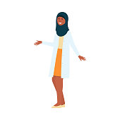 Cartoon woman doctor in medical uniform and Muslim hijab smiling and waving, friendly female character in hospital, health care specialist, isolated hand drawn vector illustration on white background