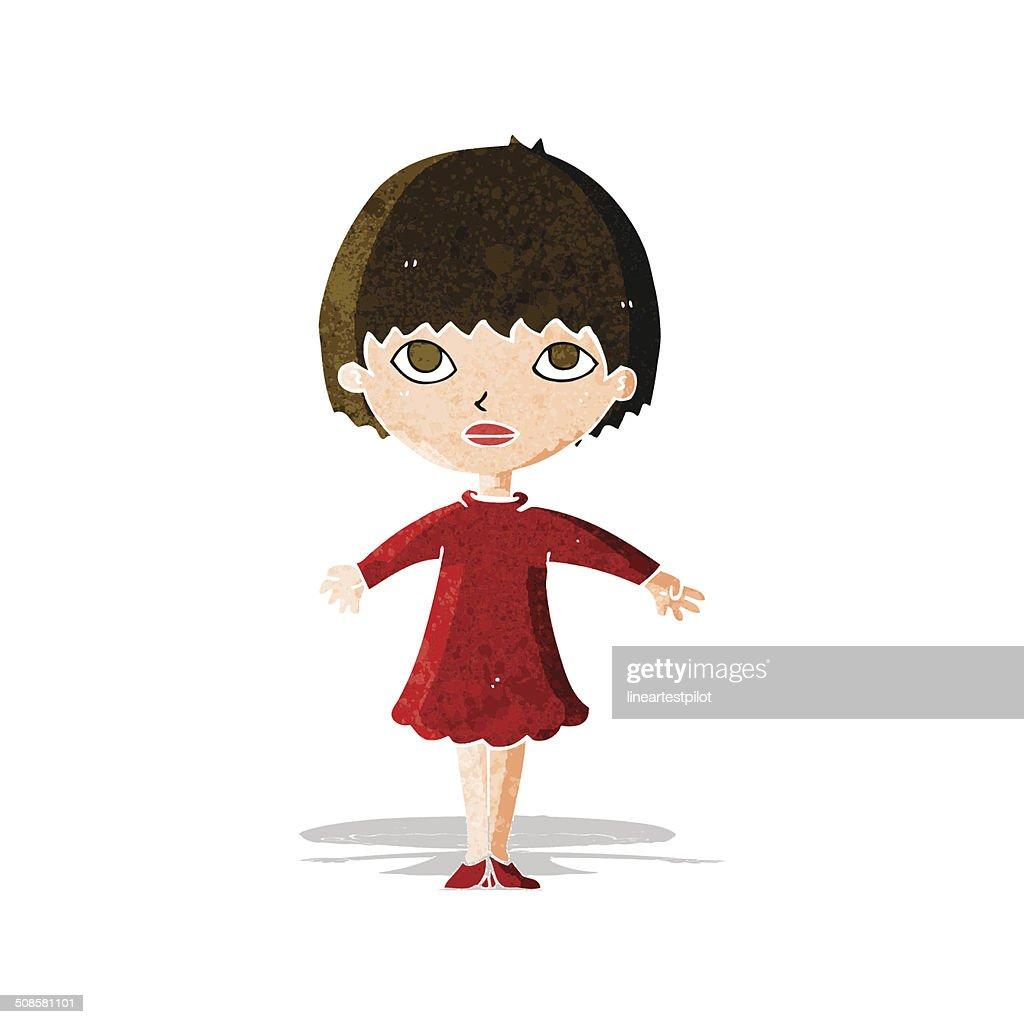 Comic-Frau im Kleid : Vektorgrafik