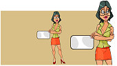 cartoon woman stands with her arms crossed on her chest and shows an empty card. In two versions