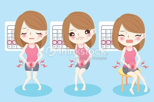 cartoon woman with menstruation : stock vector