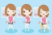 cute cartoon woman feel uncomfortable with menstruation