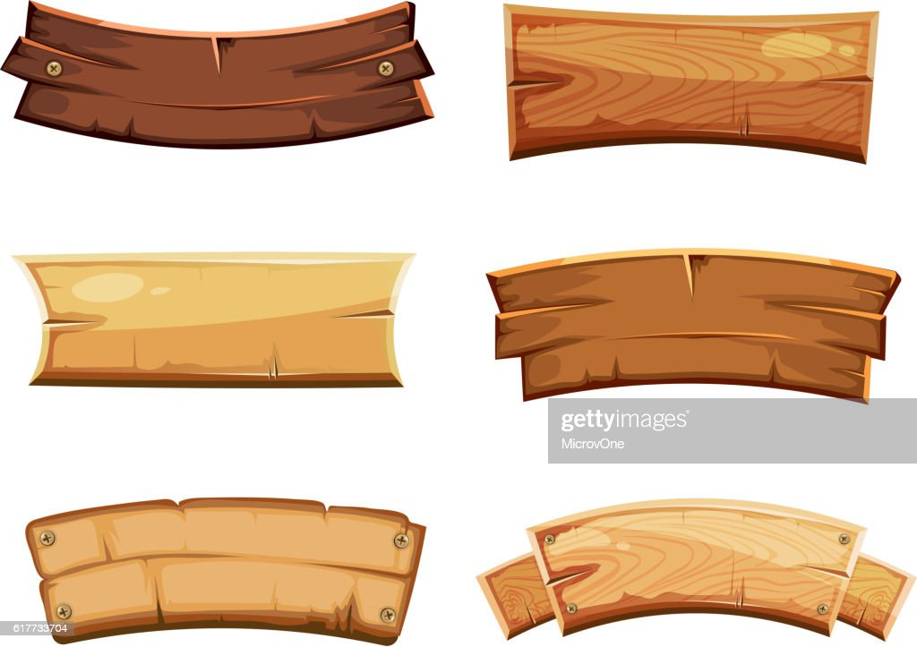 cartoon wood blank banners and ribbons western signs vector set rh thinkstockphotos com wood vector signs wood vector art