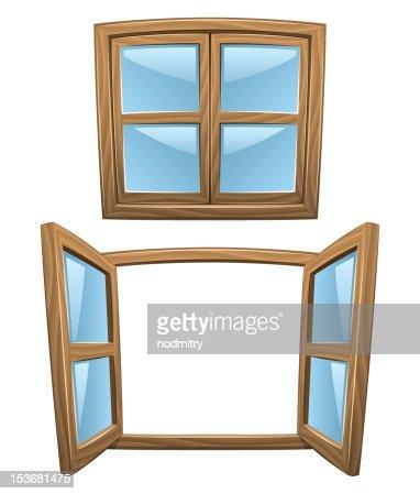 Fenster geschlossen clipart  Comic Holz Fenster Vektorgrafik | Thinkstock