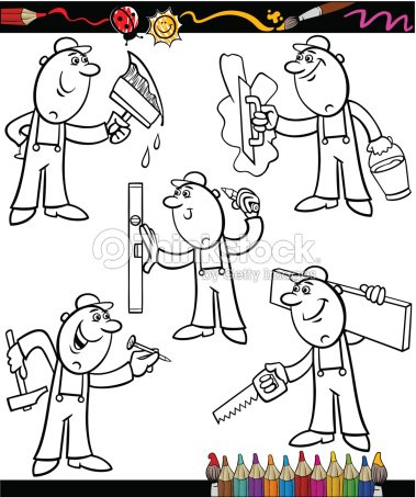 Cartoon Workers Set For Coloring Book Vector Art