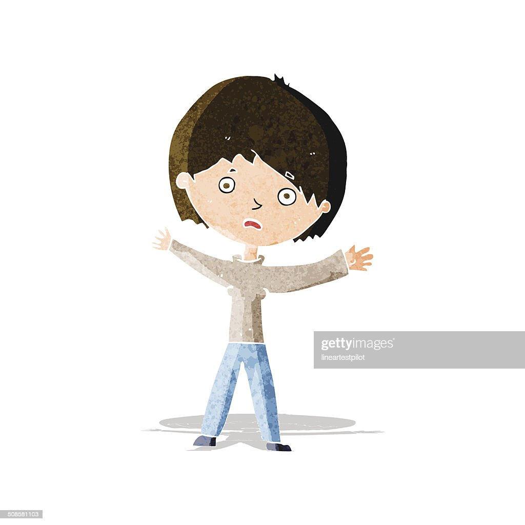 cartoon worried woman : Vector Art