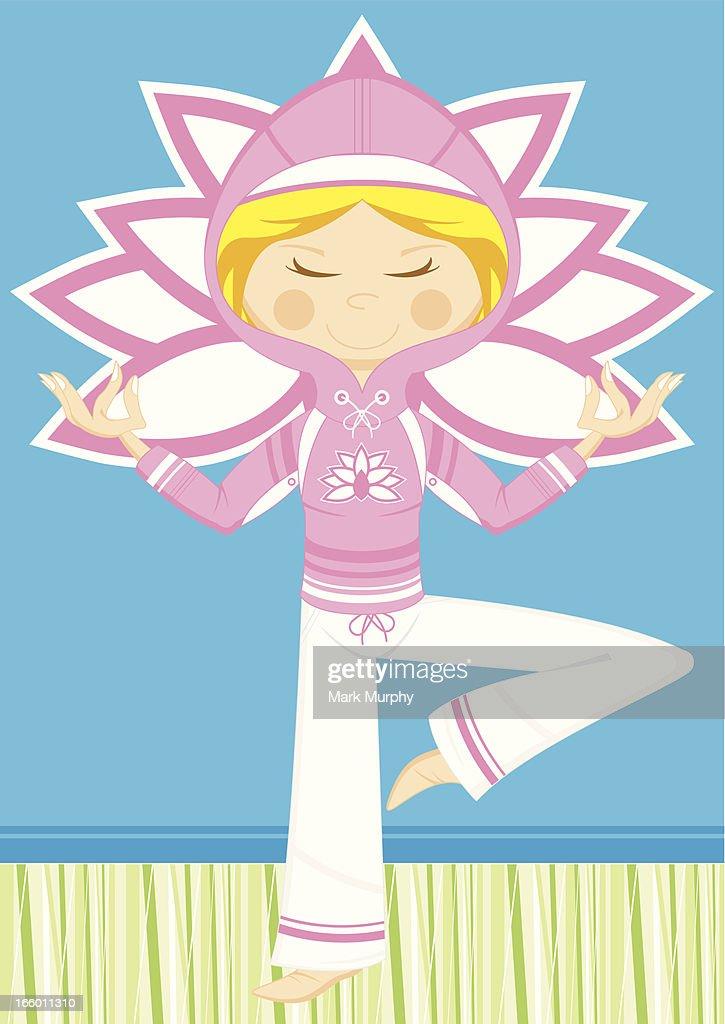 Cartoon Yoga Girl in Hooded Top : Vector Art