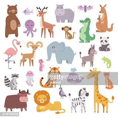Fumetto di animali dello Zoo di grande mammifero piatto impostare di illustrazione vettoriale animali : Arte vettoriale