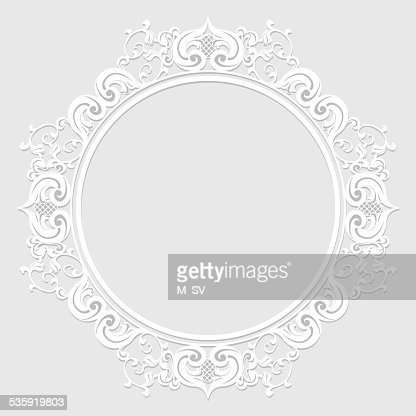 carved vintage frame made of paper for picture or photo : Vector Art