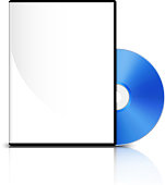 DVD-case with lid and blue DVD. Vector illustration with reflection on white