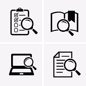 Case Studies Icons set. Vector search icon